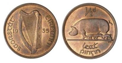 1935 Ireland halfpenny unc