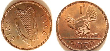 1968 Irish penny