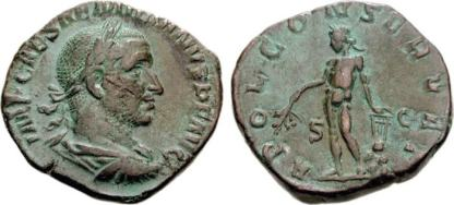 Aemilian AE Sestertius. IMP AEMILIANVS PIVS FEL AVG, laureate, draped, and cuirassed bust right / APOL CONSERVAT, Apollo standing left, holding branch and resting hand on lyre set on a rock. Sear 9853