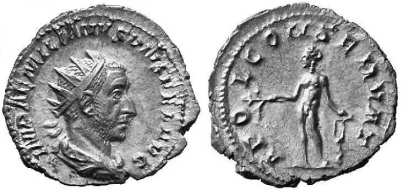 Aemilian AR Antoninianus. IMP AEMILIANVS PIVS FEL AVG, radiate, draped & cuirassed bust right / APOL CONSERVAT, Apollo standing left, resting against lyre & holding branch. RSC 2; Sear 9830
