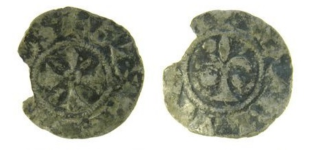 An incomplete silver denier of Geoffrey Plantagenet, Duke of Brittany (1169-1186 AD), issued c.1175-1186 AD