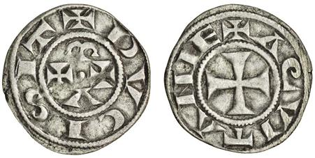 ANGLO-GALLIC, Eleanor of Aquitaine (after 1185), wife of Henry II. Denier, 0.90g (Elias 11 var.) nearly very fine