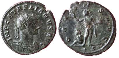 Aurelian, AE antoninianus. Siscia. IMP C AVRELIANVS AVG, radiate, cuirassed bust right / ORIENS AVG, Sol standing front, looking left, holding globe and raising right hand; captive at foot left. Mintmark Star S. Goebl 222c2 var (mintmark)