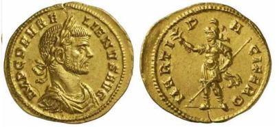 Aurelian, AV Aureus, Milan. 270-275 AD. IMP C D AVRELIANVS AVG, laureate, draped, cuirassed bust right / MARTI PACIFERO, Mars standing left, holding branch and spear. Calico 4014. Sear 11481; Goebl 13