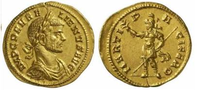 Aurelian, AV Aureus, Milan. 270-275 AD. IMP C D AVRELIANVS AVG, laureate, draped, cuirassed bust right / MARTI PACIFERO, Mars standing left, holding branch and spear. Calico 4014. Sear 11481; Goebl 13