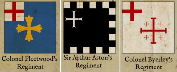 Banners of the Royalist Army during the English Civil War - Fleetwood, Aston & Byerley / Byerly