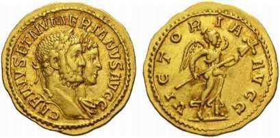 Carinus amd Numerian, AV aureus. 21 mm. 4.66 gr. Lyons. CARINVS ET NUMERIANVS AVGG, Jugate busts of Carinus, laureate, and Numerian, laureate and draped, right / VICTORIA AVGG, Victory walking left, holding trophy. Calicò 4405a; Cohen 4 var (denarius); Bastien, Lyons, 405 var (denarius)