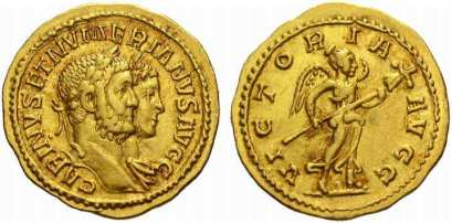 Carinus amd Numerian, AV aureus. 21 mm. 4.66 gr. Lyons. CARINVS ET NUMERIANVS AVGG, Jugate busts of Carinus, laureate, and Numerian, laureate and draped, right / VICTORIA AVGG, Victory walking left, holding trophy. Calicò 4405a; Cohen 4 var (denarius); Bastien, Lyons, 405 var (denarius)
