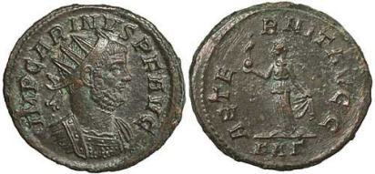 Carinus, billon antoninianus. Rome, 284-5 AD. IMP CARINVS P F AVG, radiate, draped, cuirassed bust right / AETERNIT AVGG, Aeternitas standing left, holding phoenix on globe, lifting hem of robe with left hand. KAΓ in ex