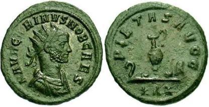 Carinus Silvered AE Antoninianus. M AVR CARINVS NOB CAES, radiate, draped & cuirassed bust right / PIETAS AVGG, sacrificial implements (sprinkler, simpulum, jug, patera, knife and lituus), ZKA in ex. RIC 155, Cohen 74
