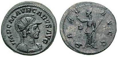 Carus Silvered AE Antoninianus. IMP C M AVR CARVS AVG, helmeted, radiate, & cuirassed bust right / PAX AVGG, Pax standing left, holding branch & transverse sceptre; B to left. Sear5 12173