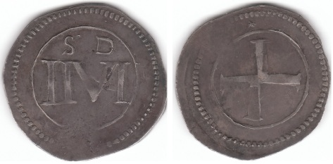 Catholic Rebel Halfcrown of 1643-1644, S.6559; KM.65; Bull 16 ; plain edge. Mintmark: petite irregular seven pointed star in outer circle in top field. Obverse: Thick large cross within inner line circle. Outer toothed border, all on an incuse field. Reverse: Large half crown value numbers II VI, height 8.5mm, with all the numerals linked by large seraphs. A large, slightly askew to the right.