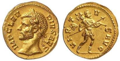 Claudius, AV aureus, Milan mint. 4.58 gr. IMP CLAVDIVS AVG, Laureate head left / VIRTVS AVG, Virtus advancing right, holding spear and trophy. Calico 3964