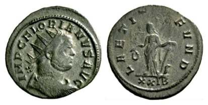 Florian, AE antoninianus. Rome mint. AD 276. IMP C FLORIANVS AVG, radiate, draped, cuirassed bust right, seen from the back / LAETITIA FVND, Laetitia standing left, holding wreath and anchor. Mintmark XXIB. Rome 34 var; Estiot 2475-2487; ric.mom.fr, 4220.