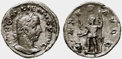 Gallienus, AE denarius, 19mm, 1,88g. 254 AD, Viminacium. IMP GALLIENVS P AVG, laureate, cuirassed bust right / VIRTVS AVGG, Mars (or Gallienus) in military dress, standing left, right foot on helmet or globe, holding globe and spear. Not in Ric or Cohen; Goebl 437 var (obv. legend); Doyen Viminacium 19