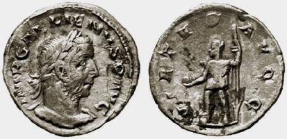 Gallienus, AE denarius, 19mm, 1,88g. 254 AD, Viminacium. IMP GALLIENVS P AVG, laureate, cuirassed bust right / VIRTVS AVGG, Mars (or Gallienus) in military dress, standing left, right foot on helmet or globe, holding globe and spear. Not in Ric or Cohen; Goebl 437 var (obv. legend); Doyen Viminacium 19