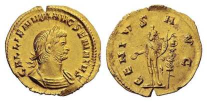 Gallienus, AV Aureus, Rome. AD 261. 2.18 g. GALLIENVM AVG SENATVS, radiate, cuirassed bust right, slight drapery on left shoulder / GENIVS AVG, Genius, modius on head, naked but for chlamys over shoulders, standing left, holding patera and cornucopiae, standard to right