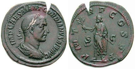 Gordian I Æ Sestertius. IMP CAES M ANT GORDIANVS AFR AVG, laureate, draped & cuirassed bust right, seen from behind / P M T-R P COS P P S-C, Gordian standing left, holding branch in right hand & resting left on parazonium. Cohen 3.