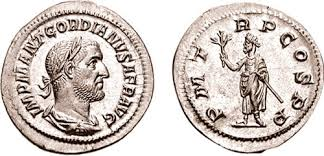 Gordian I AR Denarius. IMP M ANT GORDIANVS AFR AVG, laureate, draped & cuirassed bust right, seen from behind / P M TR P COS P P, Gordian, standing facing, head left, holding branch in right hand & a short scepter in left. RSC 2