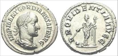 Denarius of Gordian II Africanus (238 CE) minted in Rome. Obverse IMP M ANT GORDIANVS AFR AVG, laureate and draped bust right; reverse PROVIDENTIA AVG
