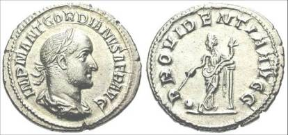 Denarius of Gordian II Africanus (238 CE) minted in Rome. Obverse IMP M ANT GORDIANVS AFR AVG, laureate and draped bust right; reverse PROVIDENTIA AVG