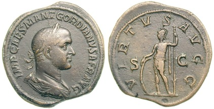 Gordian II Æ Sestertius. IMP CAES M ANT GORDIANS AFR AVG, laureate, draped and cuirassed bust right / VIRTVS AVGG, S C across field, Virtus standing left, holding spear and resting against shield. Cohen 15