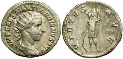 Gordian III AR Antoninianus. 238-239 AD. IMP CAES M ANT GORDIANVS AVG, radiate, draped & cuirassed bust right / VIRTVS AVG, Virtus standing facing in military dress, head left, with shield & spear. RIC 6, RSC 381