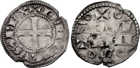 Henry II (Henri I d'Aquitaine). 1154-1189. BI Denier (17.5mm, 0.85 g, 4h). Bordeaux mint. + hENRICVS REX (S horizontal), cross pattée / º+º/ AQVI/ TANI/ ºЄº in four lines. SCBC 8001; Elias 1