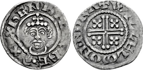 Henry II. 1154-1189. AR Penny (19mm, 1.35 g, 6h). Short Cross type, class Ia1. Northampton mint; Willelm, moneyer. Struck 1180. ҺENRICVS RE X, crowned facing bust, holding scepter / + WILLELm · ON · NORΛ, voided cross, with four pellets in angles