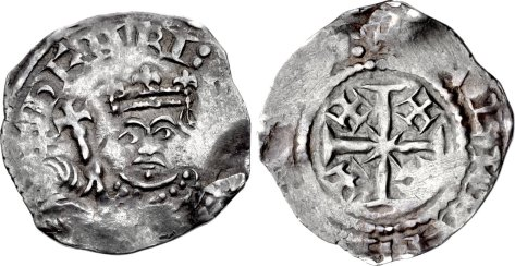Henry II. 1154-1189. AR Penny (19mm, 1.46 g, 8h). Cross and Crosslets (Tealby) type; class D. London mint; Æthelwine, moneyer. Struck circa 1167-1170. + ҺENRI : [ ... ], crowned facing bust, holding scepter / + [ ... ]ALPENE [ ... ]:, cross pattée, with crosslet in angles.