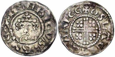 Henry II of England, Short Cross Class 1B Penny, Moneyer Oslac of Worcester