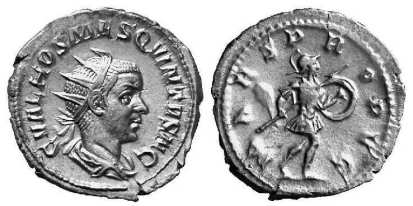 Hostilian AR Antoninianus. C VAL HOS MES QVINTVS N C, radiate bust right, draped / MARS PROPVG, Mars advancing right, holding spear & shield. RSC 12