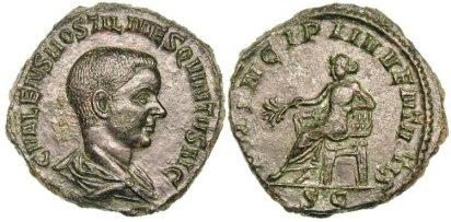 Hostilian, as Caesar, Æ Sestertius. C VALENS HOSTIL MES QVINTVS N C, bare-headed & draped bust right / PRINCIPI IVVENTVTIS S-C, Apollo seated left, holding branch & resting elbow on lyre. RIC 215a, Cohen 31