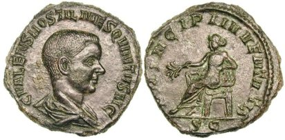 Hostilian, as Caesar, Æ Sestertius. C VALENS HOSTIL MES QVINTVS N C, bare-headed & draped bust right / PRINCIPI IVVENTVTIS S-C, Apollo seated left, holding branch & resting elbow on lyre. RIC 215a, Cohen 31