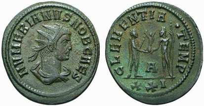 Numerian, AE antoninianus. Cyzicus mint. NVMERIANVS NOB CAES, radiate, draped bust right / CLEMENTIA dot TEMP, Numerian, holding sceptre, standing right receiving Victory on globe from Jupiter, standing left, holding sceptre. A in lower centre. Mintmark XXI. RIC V-2, 372