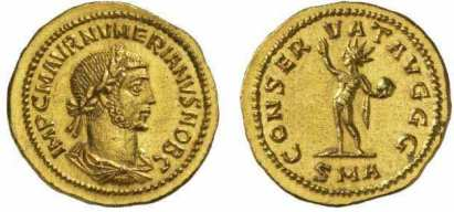 Numerian, AV aureus, Antioch mint, AD 283. IMP C M AVR NVMERIANVS NOB C, laureate, draped, cuirassed bust right / CONSERVAT AVGGG, Sol standing left, holding globe and raising right hand. Mintmark: SMA. RIC 373, Calico 4303; Sear 12209
