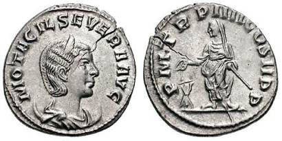 Otacilia Severa AR Antoninianus. Antioch mint. M OTACIL SEVERA AVG, diademed & draped bust right, resting on a crescent / P M TR P IIII COS II P P, Philip, veiled, standing left, sacrificing over tripod