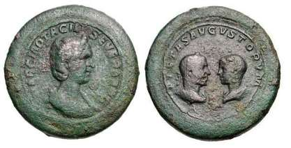 Otacilia Severa, Philip I, & Philip II as Caesar, AE44 Bimetallic Orichalcum & Copper medallion. Rome, 244-247 AD. MARCIA OTACIL SEVERA AVG, draped bust of Otacilia right, in stephane / PIETAS AVGVSTORVM, draped busts of Philip I, laureate, & Philip II, bare-headed, vis a vis, both busts seen from behind. Gnecchi 1