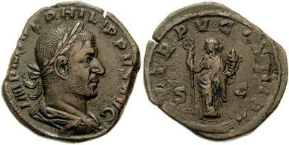 Philip I AE Sestertius. IMP M IVL PHILIPPVS AVG, bust right / P M TR P V COS III P P S-C, Felicitas standing left holding a caduceus & cornucopiae