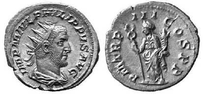 Philip I AR Antoninianus, IMP M IVL PHILIPPVS AVG, radiate and draped bust right / P M TR P III COS P P, Felicitas, standing left with caduceus & cornucopiae. RIC 3, RSC 124