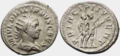 Philip II, as Caesar, AR Antoninianus. M IVL PHILIPPVS CAES, radiate, draped & cuirassed bust right / PRINCIPI IVVENT, attendant standing behind Philip II holding spear & parazonium