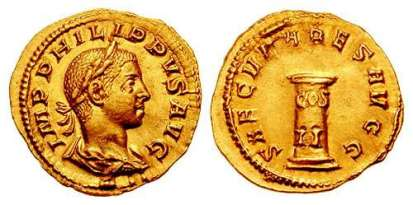 Philip II AV Aureus. 248 AD. IMP PHILIPPVS AVG, laureate draped bust right / SAECVLARES AVG, low column inscribed COS II. Cohen 77