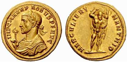 Probus, AV aureus, 22mm, 5.98 g. AD 276–282. Siscia. IMP C M AVR PROBVS PF AVG, Laureate, cuirassed bust left, wearing imperial mantle, holding eagle-tipped sceptre / HERCVLI ERYMANTHIO, Hercules standing right, carrying the Erymanthian boar over his shoulder. Calicò 4156 (this coin); Sear 11909 var (bust type): RIC 586 var; Cohen 272 var.