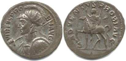 Probus, Lyons Mint, AE Antoninianus. VIRTVS PROBI AVG, Radiate, helmeted, cuirassed bust left, holding spear and shield / ADVENTVS PROBI AVG, Emperor riding left, right hand raised, left holding sceptre; at foot, captive. Mintmark I. RIC V-2, 20 var (bust type and mintmark); Sear 11954 var (bust type).