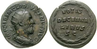 Pupienus AE Dupondius. IMP CAES M CLOD PVPIENVS AVG, radiate, draped & cuirassed bust right / VOTIS/DECENNA/LIBVS/SC within wreath