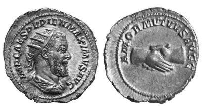 Pupienus AR Antoninianus. IMP CAES PVPIEN MAXIMVS AVG, radiate draped bust right / AMOR MVTVVS AVGG, clasped hands. RIC 9b, RSC 2