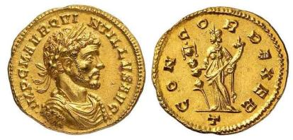 Quintillus, AV Aureus. 5.01 gr, Milan mint. IMP C M AVR QVINTILLVS AVG, laureate, draped, cuirassed bust right / CONCORD EXER, Concordia standing facing, head left, holding standard and cornucopiae. Officina letter T in exergue. Cohen 11 (2nd ed.); Biaggi 1574; Calicó 3966; RIC - (1 var, different rev. legend); Sear 11429