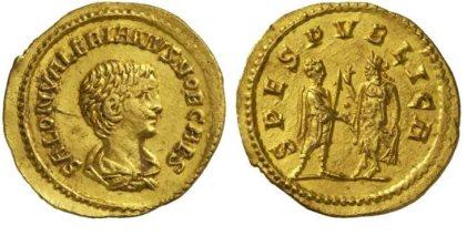 Saloninus, AV aureus, Commagene. 3.65 g. SALON VALERIANVS NOB CAES, bare-headed, draped bust right / SPES PVBLICA Spes standing left, raising hem of robe, presenting flower to prince