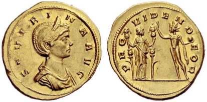 Severina, AV Aureus. Ticinum AD 274-275, 6.39 g. SEVERINA AVG, diademed and draped bust right / PROVIDEN DEOR, Sol standing left, holding globe and raising right hand towards Fides, standing right, holding two standards