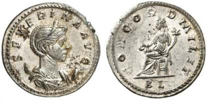 Severina, billon antoninianus, Lyons. SEVERINA AVG, diademed and draped bust right, on crescent / CONCORD MILIT, Concordia seated left, holding patera and cornucopiae. Mintmark BL